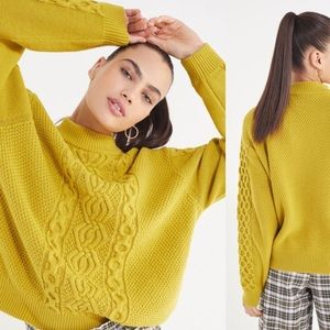 UO Austin Mock Neck Cable Knit Sweater